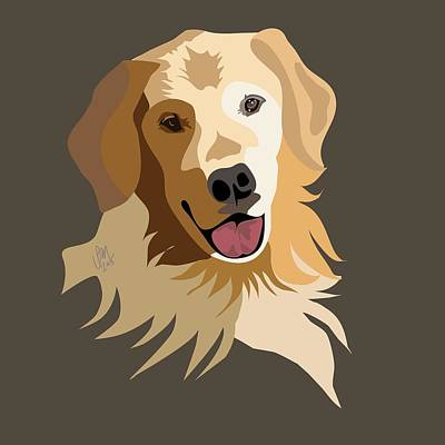 Retrievers Digital Art - Golden Retriever by Ian Mutton