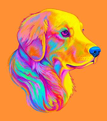 Retrievers Digital Art - Golden Retriever In Colors by A