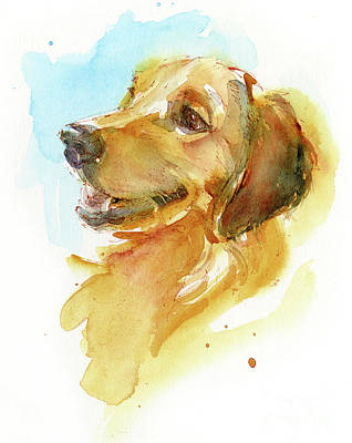 Watercolor Pet Portraits Painting - Golden Retriever by John Keeling