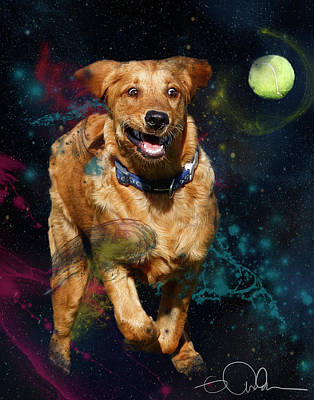 Retriever Digital Art - Golden Retriever On The Chase by Gloria Anderson