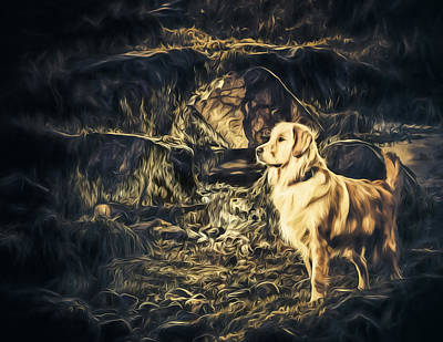 Labs Digital Art - Golden Retriever - Painted - Did Someone Say Treat? by Black Brook Photography