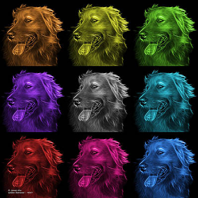Retriever Digital Art - Golden Retriever Pop Art - 4047 M - Bb by James Ahn