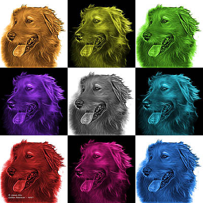 Digital Art - Golden Retriever Pop Art - 4047 M - V2 by James Ahn