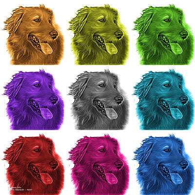 Retrievers Digital Art - Golden Retriever Pop Art - 4057 M - Wb by James Ahn