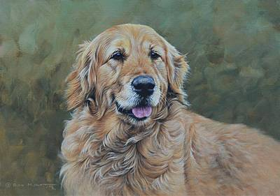 Art Print featuring the painting Golden Retriever Portrait by Alan M Hunt