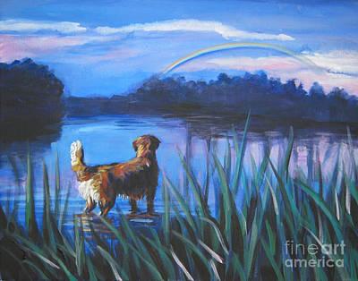 Golden Retriever Painting - golden Retriever Rainbow by Lee Ann Shepard