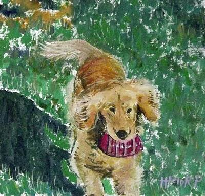 Golden Retriever Running Art Print by Hector Perez
