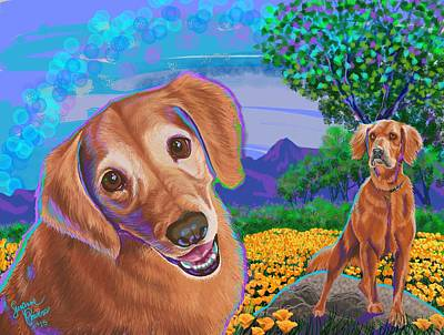 Retriever Digital Art - Golden Retriever by Suzanne Powers