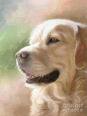 Dog Art Painting - Golden Retriever by Tobiasz Stefaniak