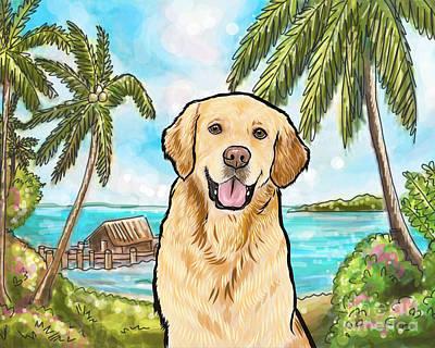 Golden Retriever Digital Art - Golden Retriever Tropical Beach by Nicole Chen