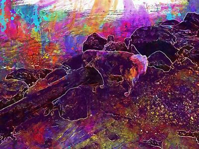 Golden Retriever Digital Art - Golden Retriever Water Dog Beach  by PixBreak Art
