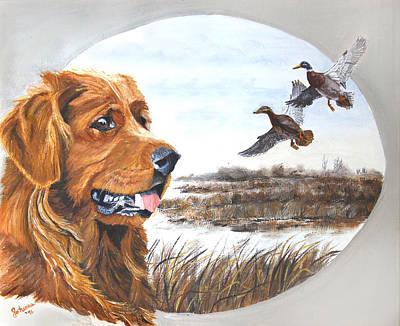 Golden Retriever With Marsh Scene Art Print by Johanna Lerwick