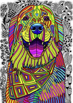 Drawing - Golden Retriever by ZileArt