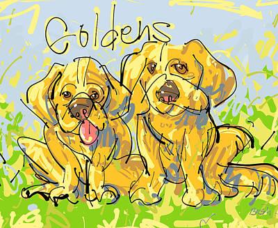 Golden Retrievers Art Print