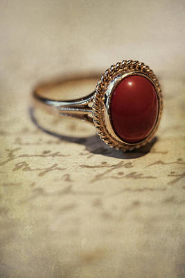 Photograph - Golden Ring With Red Stone by Jaroslaw Blaminsky