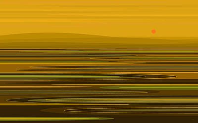Digital Art - Golden Ripples by Val Arie
