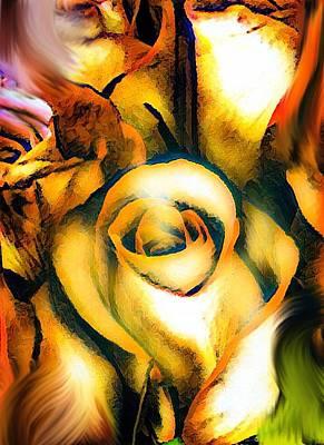 Digital Art - Golden Rose N Twilight by Gayle Price Thomas