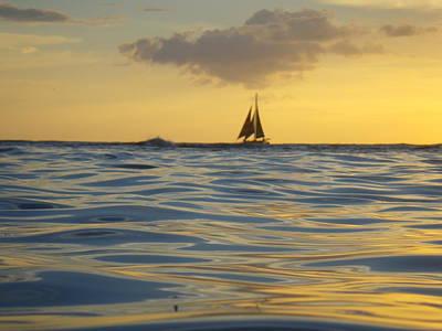 Digital Art - Golden Sailboat At Kaimana by Erika Swartzkopf