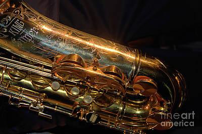 Golden Sax Against Black Background Original