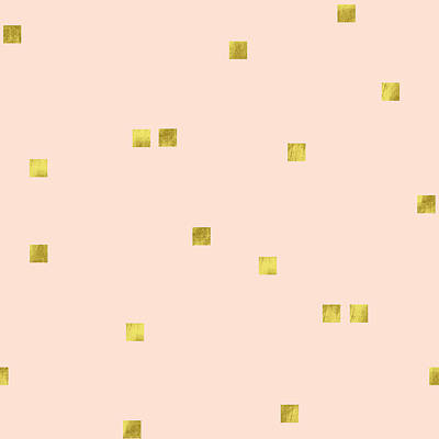 Repeating Digital Art - Golden Scattered Confetti Pattern, Baby Pink Background by Tina Lavoie