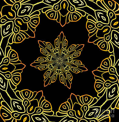 Mixed Media - Golden Scratch Art Mandala Kaleidoscope Abstract Flower by Rose Santuci-Sofranko