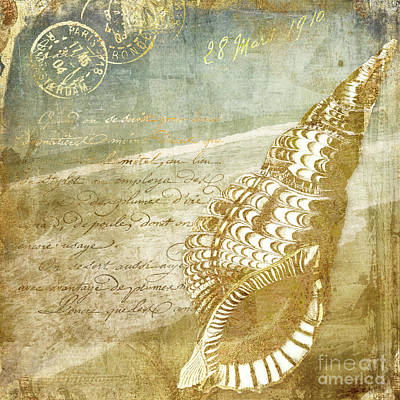 Golden Sea Four Print by Mindy Sommers