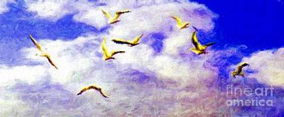 Venice Beach Digital Art - Golden Seagulls by Jerome Stumphauzer