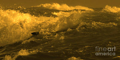 Photograph - Golden Sea Waves Graphic Digital Poster Art By Navinjoshi At Fineartamerica.com Ideal For Wall Decor by Navin Joshi