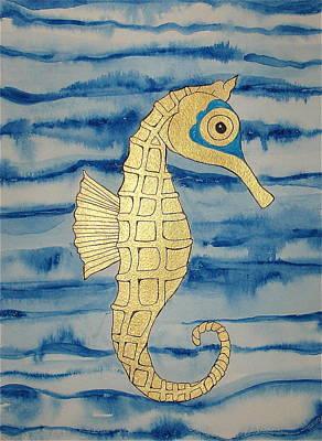 Painting - Golden Seahorse by Erika Swartzkopf