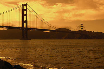 Photograph - Golden Skies Over The Golden Gate Bridge by Aidan Moran