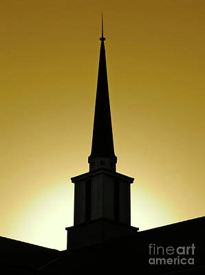 Golden Sky Steeple Print by CML Brown