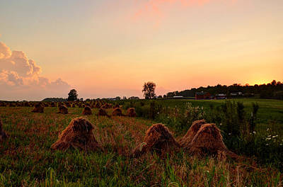 Photograph - Golden Sky With Hay Bales by Ann Bridges
