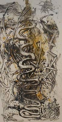 Palette Knife Painting - Golden Snake1 by Karen Lillard