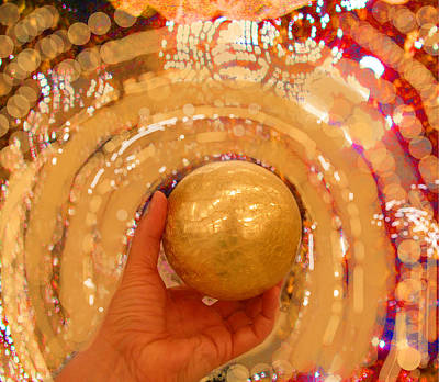 Digital Art - Golden Sphere by Anne Cameron Cutri