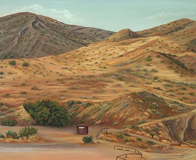 Desert Path Painting - Golden Spikes by Angeles M Pomata