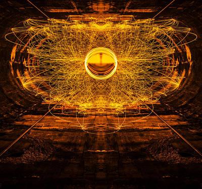 Golden Spinning Sphere Reflection Art Print