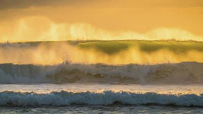 Photograph - Golden Spray Sunrise Surf Delray Beach Florida by Lawrence S Richardson Jr