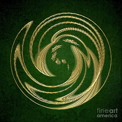 Digital Art - Golden Spring Awakening Abstract by Gabriele Pomykaj