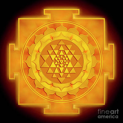 Golden Sri Yantra - Artwork 1 Art Print