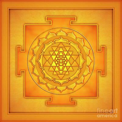 Sriyantra Digital Art - Golden Sri Yantra - Artwork 2 by Dirk Czarnota