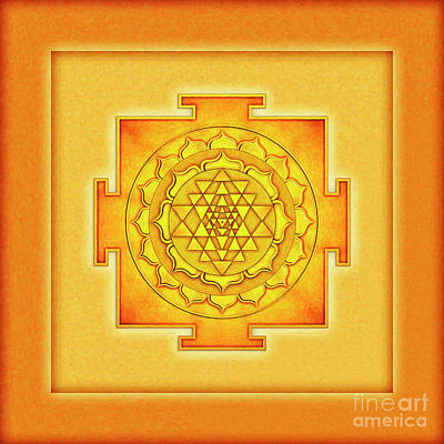 Sriyantra Digital Art - Golden Sri Yantra - Artwork 3 by Dirk Czarnota