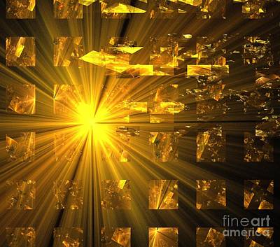 Digital Art - Golden Star Cubes by Kim Sy Ok