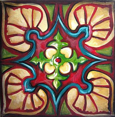 Ceramic Art Tile Painting - Golden Star by Luciana Toma