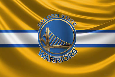 Golden State Warriors - 3 D Badge Over Flag Art Print by Serge Averbukh