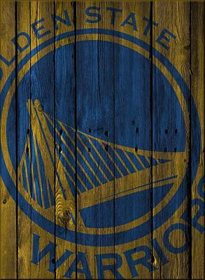 Golden State Warriors Wood Fence Art Print