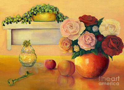 Glass Oil Dish Painting - Golden Still Life by Marlene Book