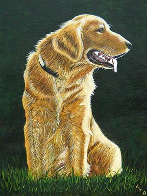 Golden Retriever Painting - Golden by Sun Sohovich