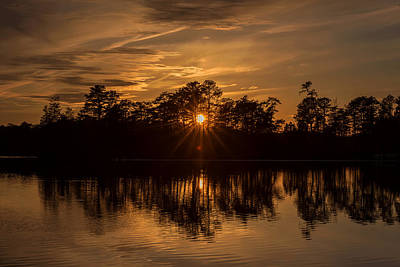 Photograph - Golden Sunburst At The Lake New Jersey  by Terry DeLuco