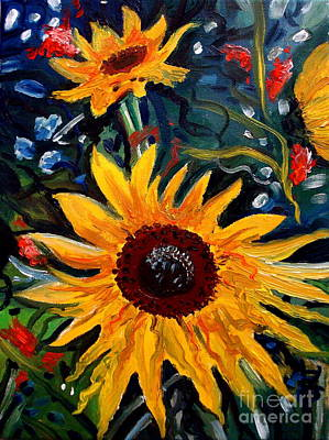Painting - Golden Sunflower Burst by Elizabeth Robinette Tyndall