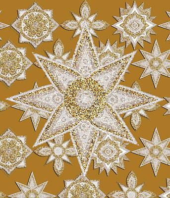 Abstract Flowers Digital Art - Golden Sunflowers 2 by Bekim Art